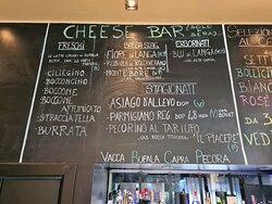 La Cheese Bar con l'elenco dei nostri formaggi