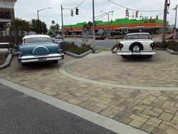 Classic cars on display.