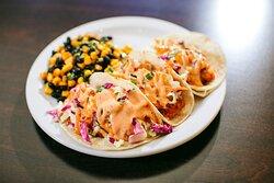 Cod Fish Tacos with Fresh Corn & Black Bean, Cabbage Slaw & Chipotle Aioli