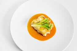 Halibut (on the bone) Sprouting Cauliflower and Carrot & Lobster Emulsion