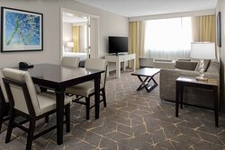 Eat, relax, or watch TV in the spacious two-room suite