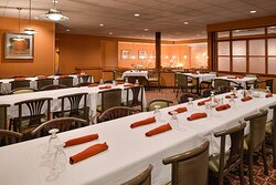 Grab a plate at the buffet and enjoy breakfast.