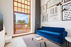 Duplex Suite Living Room - Mediterranean View