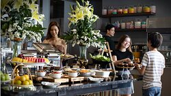 Complimentary hot breakfast from hot dish to salad and pastries