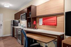 One-Bedroom Queen Suite - Kitchen & Work Space