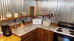 Kitchen inside of Trailhead Cabin.