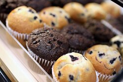 indulge in delicious muffins and pastries on our breakfast buffet.