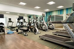 Our fitness center features cardio and weight training equipment.