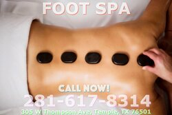 Foot Spa is an Asian massage spa designed to help you reduce stress, relieve build up chronic pain, and increase the overall quality of your life! We specialize in multiple affordable, customized treatments to meet the needs of a wide variety of clients in a peaceful setting! We are proud to be providing Authentic Asian Massage therapy services in our beloved community of Temple, TX!