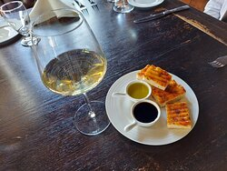 Foccacia bread, basalmic vinager, and olive oil
