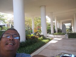 """On the 1st level which is a """"partial outdoor"""" one (with stilted columns seen behind me)"""