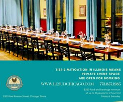 Le Sud private event space is open for booking now for up to 10 guests. Illinois have moved to Tier 2 mitigation. We are excited for the progress. Book now and See you soon! www.lesudchicago.com #lesudchicago #privateevents #privateeventspace #privatedining #roscoevillagechicago