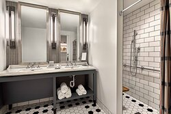 Accessible King Suite Bathroom - Roll-In Shower