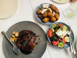 Lamb, salad and potatoes