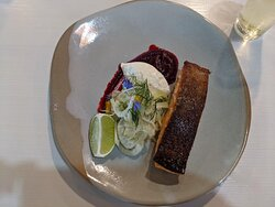 pan cooked salmon with beetroot puree and fenchel salat