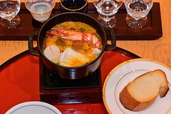 An absolutely phenomenal  Bouillabaisse featuring Tai (Sea Bream), Kuruma Ebi (Japanese Tiger Prawn), Hotate (Scallop) & Vegetables. The soup contained Shiro Miso (White soybean paste)