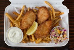 Fish & Chips!   Wild, line-caught, Alaska Pacific Cod with seasoned shoestring fries, pepperoncini tartar sauce, cabbage slaw, lemon