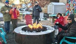 Friends enjoying the fire pit