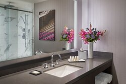 Club guest bathroom with upscale amenities