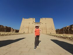 My mom at the Temple of Horace in Edfu, a favorite temple of mine and also an excursion from the Nile dahabiya cruise
