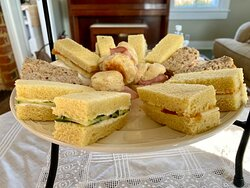 Various Cream-cheese sandwiches and ham biscuits!
