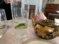 Cucumber water with pots of  Carmel Tea and Darjeeling Tea!