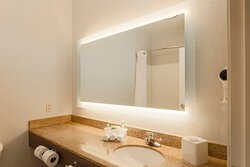 Our guest bathrooms have plenty of counter space to get ready
