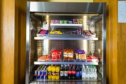 Feeling peckish? Grab a snack from our well-stocked vending fridge