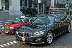 The Hong Kong leader Carrie Lam in her official BMW on her way to work in Hong Kong