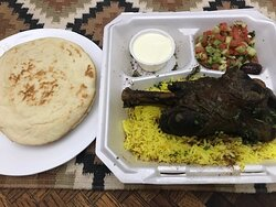 Lamb Shank with Rice and Arabic Salad