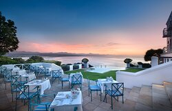 Seafood restaurant terrace with ocean view