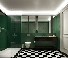 Bathroom decorated in a British racing green themed style.