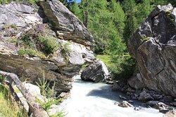 岩のチャペルと川岸の岩珍しい花