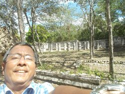 """At the area past the east end of the """"site's plaza"""" (with a """"cluster of pillars"""" seen behind me similar in design to the Temple of A Thousand Warriors)"""
