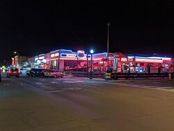 From across the street.  Loving all the neon!