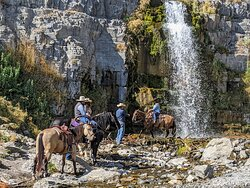Photo shoot at the foot of the falls.