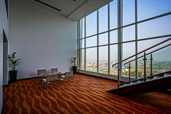 lounge area at guest floors with a city view