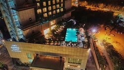 An aerial night view of the swimming pool
