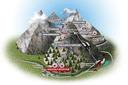 Plan avec les 3 transports depuis la gare du Châtelard : funiculaire à 2 cabines, train panoramique puis le Minifunic accédant au sommet du barrage d'Emosson (1965 mètres d'altitude)