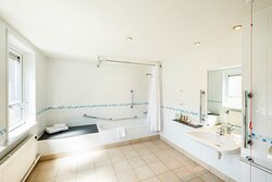 Wheelchair-accessible en-suite bathroom for guests