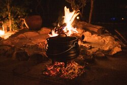 Our traditional Potjie nights, a South African stew slowly cooked in a cast iron pot on open coals for over 6 hours.