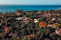 Vista área. Pousada Aqualtune, localização privilegiada, centrinho da Vila de Barra Grande, Península de Maraú, Bahia.
