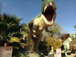 The T-rex greets you.