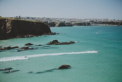 Jet skis leaving Lusty Glaze Beach Newquay to go on one of our Waverunner safaris