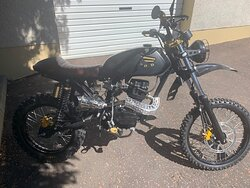 This is a 1991 CG125.  I used this motorcycle in my business as an instructor for 15 years. I persuaded my wife to do her test on it before the new CBT and pursuit style test was implemented.  I presented this converted CG125  to my wife as a Christmas present in 1999, we have plans on touring around Ireland in our retirement.(I hope we make it )