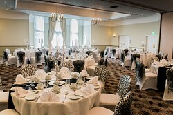 Our stunning banquet suite has views overlooking the courtyard