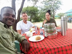 that sweet moment ..... hot lunch in the bush