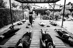 Prana Casa B&B Portugal Yoga lesson on the yoga deck