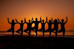 Prana Casa Yoga lesson on the nearby beach