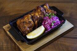 """Bhatti da Murgh, Majitha   Char grilled chicken, ginger-mustard-yogurt marinade, exotic spice, """"mugga"""" , now rare"""